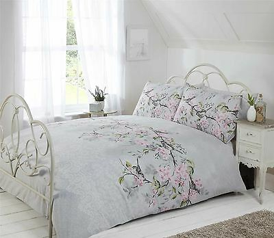 branche oiseaux dentelle florale imprim gris rose housse de couette double eur 26 76. Black Bedroom Furniture Sets. Home Design Ideas