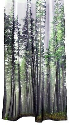 Evergreen Forest Green Trees Photograph Fabric Bathroom Shower Curtain NEW Retro