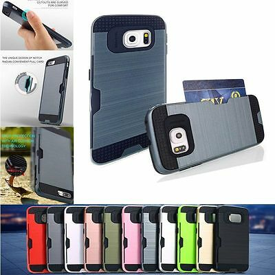 Shockproof Brushed Hybrid Rugged Hard Card Case Cover for Samsung Galaxy S6 Edge