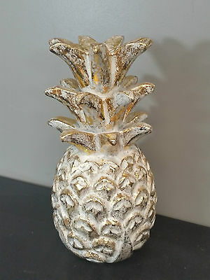 Bali Hand Carved Wooden Pineapple Ornamental Statue Sculpture Gold White Large