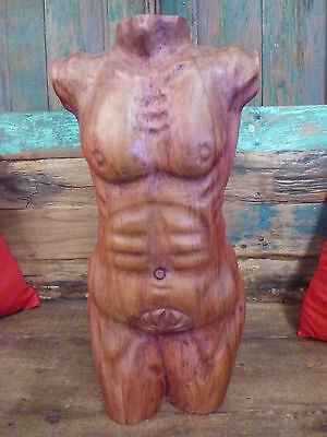 Balinese Hand Carved Saur Wood Sculpture Male Torso Nude Statue 17A