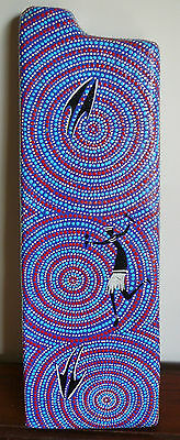 Box Didgeridoo Travel Didge Hand Carved Hand Painted Blue Red L51cm X W17cm #3