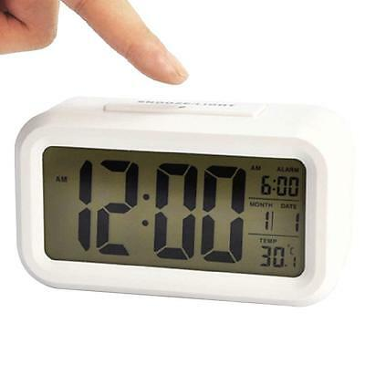 Snooze LED Digital Alarm Clock Thermometer Date Time Night Smart Light LCD White