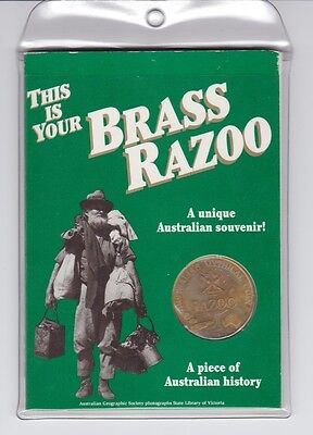 One Brass Razoo 1994 Australia's Mythical Coin with History Booklet etc F-818