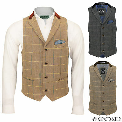 Mens Vintage Tweed Check Herringbone Oak Brown Grey Tailored Fit Retro Waistcoat