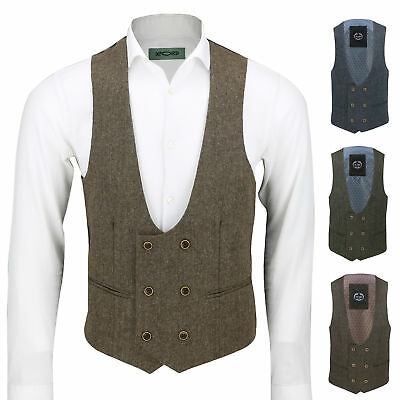 Mens Vintage Tweed Double Breasted Low U Cut Suit Waistcoat Retro Slim Fit Vest