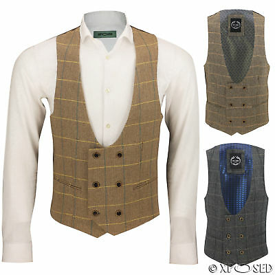 Mens Double Breasted Tweed Waistcoat Low U Cut Style Vintage Herringbone Check