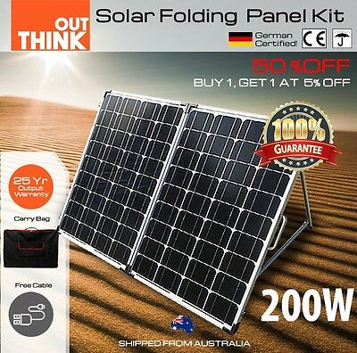 200W Folding Solar Panel Package Caravan Camping Power 12V Mono Charging Battery
