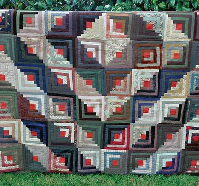19thC – GRAPHIC BARN RAISING LOG CABIN ANTIQUE QUILT: NEAR IMMACULATE CONDITION!