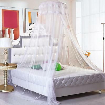 New Bed Mosquito Netting White Elegant Mesh Canopy Princess Round Dome Bedding