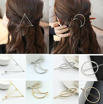 1PC Fashion Women Girls Gold Plated Hollow Out Crescent Moon Hair Clip Hairpin u