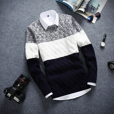 Mens Jumpers Sweaters Slim Fit Casual Splice Knitted Cardigan Pullover Tops