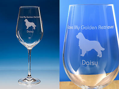 Golden Retriever   Personalised Engraved Fine Quality Wine Glass Dog Lover Gift