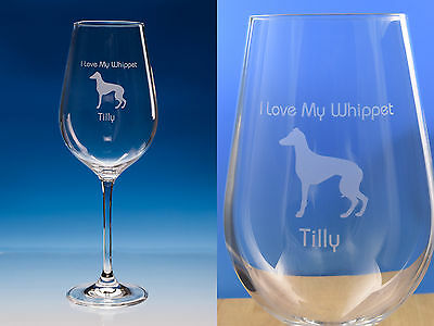 Whippet Dog Gift Personalised Engraved Fine Quality Wine Glass Dog Lover Gift