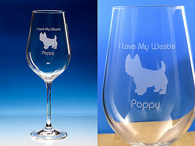 West Highland Terrier Gift Engraved Fine Quality Wine Glass Can Be Personalised
