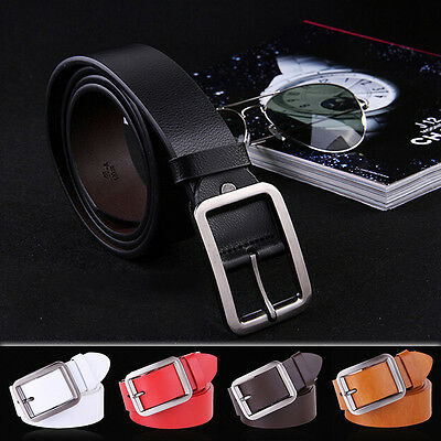 Men's Belt Classic Fashion Solid Genuine Leather Waistband Wide Belt Strap Belts