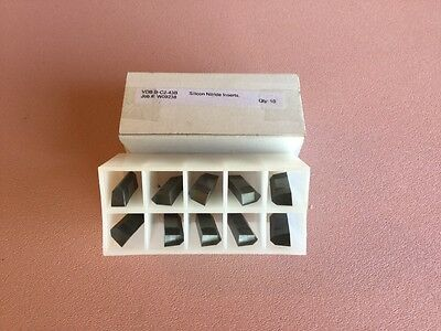 BOX OF TEN (10) SILICON NITRIDE CERAMIC INSERTS VDB-B-C2-43Blk PARTING GROOVING