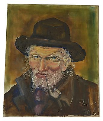 French Vintage Oil Painting on Canvas - Portait of Old Man Smoking Pipe Signed