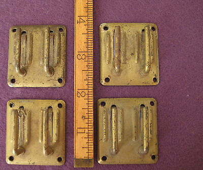 Old Antique Vintage Steel 4 Pc Painted Brass 2 Hook Small Square Mystery Parts