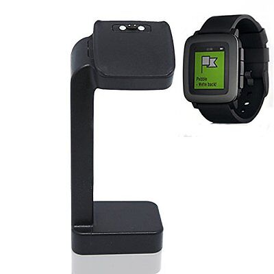 BLACK STAND Charger Charging Docking Station Accessories for PEBBLE TIME / STEEL