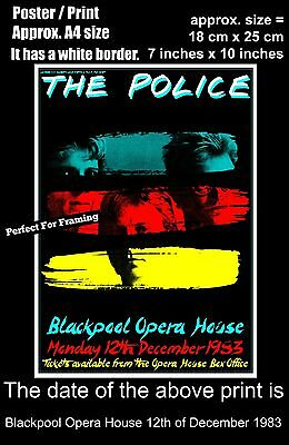 The Police live concert Blackpool Opera House 12th December 1983 A4 poster print