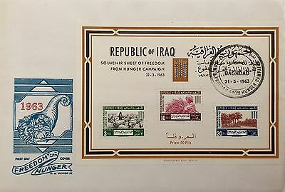 Iraq Stamps- Rare FDCs-1963-the Freedom From Hunger-Set And A sheet on 2 Covers