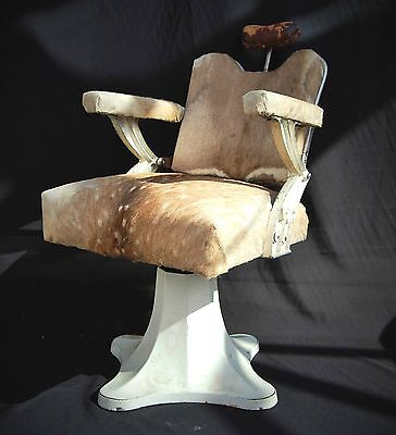 Vintage French Barber's Chair with Deer Skin