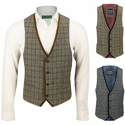 Mens Velvet Trim Tan Oak Grey Vintage Tweed Large Check Herringbone Waistcoat