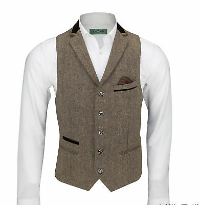 Mens Vintage Tweed Herringbone Brown Velvet Collar Tailored Fit Retro Waistcoat