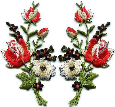 Black & red roses pair flowers embroidered appliques iron-on patches new S-1224