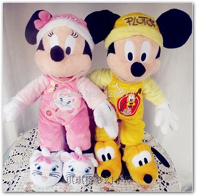 Mickey in Pluto Minnie in Marie Cat Pajamas Plush  45CM Kids Stuffed