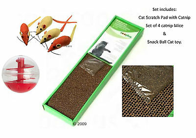 Scratch Pad (fits Cat House as replacement) + 4 Catnip Mice + Snack Ball Cat Toy