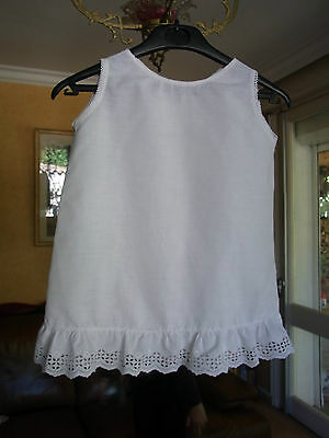ANVIENNE CHEMISE Blanche FILLE T 8a VINTAGE 60 GIRL COTTON SHIRT 8yrs