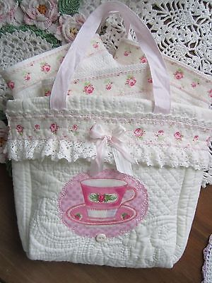 Tea Lover's Quilted Tiny Tote w 3 Rose~Trimmed Barmop Dishcloths Just Too Sweet!