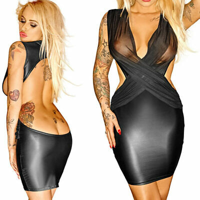 "Noir Minikleid Wetlook Schwarz Transparent Dessous Reizwäsche S M L XL ""Sharni """