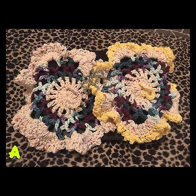 Homemade Crochet Dish Cloths/ Pot Holders. Variety Of Colors