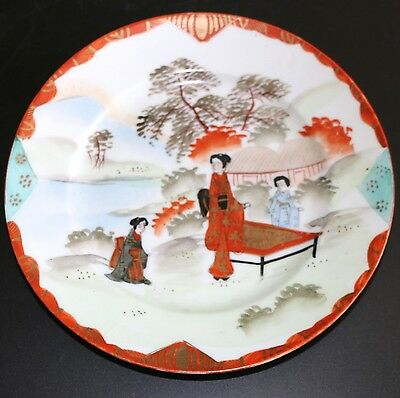 Vintage Japanese Hand Painted Plates Kutani Takigawa Porcelain  - Set Of 3
