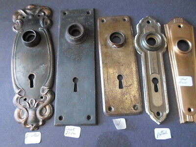 5 vintage DOOR KNOB BACKPLATES -brass, brass plated, cast iron BACK PLATES