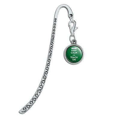 Metal Bookmark Page Marker with Charm Keep Calm and P-Y