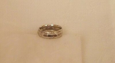 """Antique Art Deco Sterling Silver Ring, Hammered Finish, ¾"""" Diameter"""