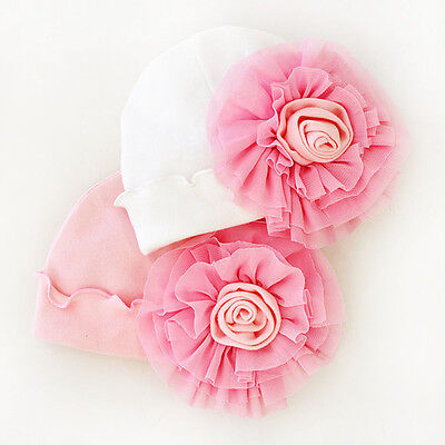 Newborn Baby Girls Infant Big Flower Cute Soft Cotton Hospital Cap Beanie Hat
