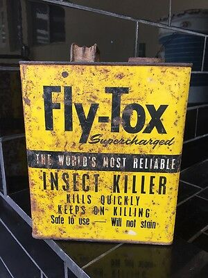 Fly-Tox Supercharged Insect Killer Vintage 1 Gallon Tin Kitchenalia