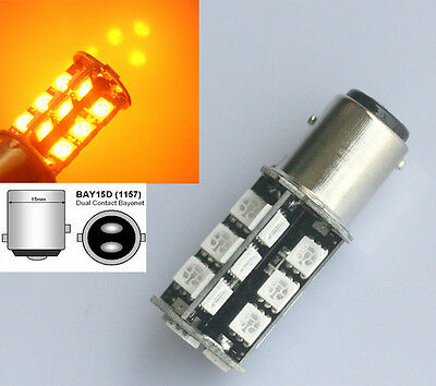 2x Amber 1157 BAY15D 380 P21/5W SMD 27 LED Canbus Tail Brake Lights Lamp Bulbs