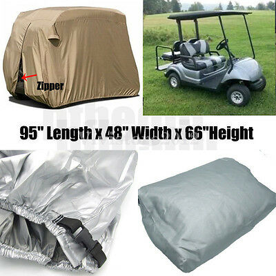 "95"" 2 Passenger Golf Cart Cover Waterproof Vents Zippered For EZ Go Club Yamaha"