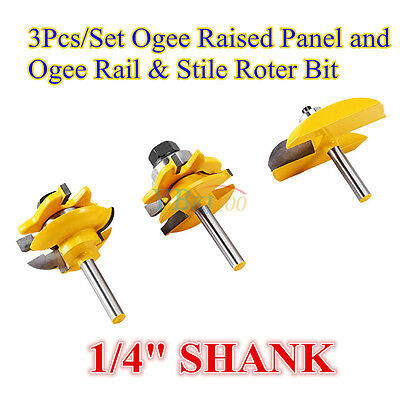 "3Pcs/Set 1/4"" Shank Ogee Raised Panel and Rail & Stile Router Bits Cutting Tools"