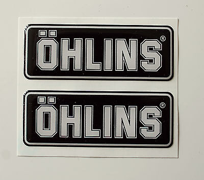 OHLINS stickers - decals - 2 x White High Gloss Gel Finish - 50mm - Motorcycling