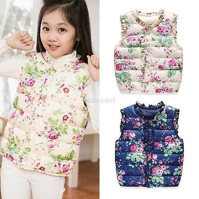 Winter Baby Toddler Girls Warm  Hooded Floral Jacket Coat Waistcoat Outwear 2-7Y