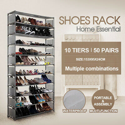 Brand New 50 Pairs 10 Tiers Portable Stackable Storage Shoe Rack Organiser AU