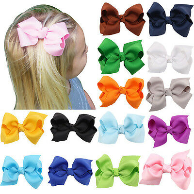 2pcs Baby Toddler Girl Hair Clip Ribbon Bow Kids Satin Bowknot Grosgrain Hairpin