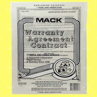 Mack 7-Year Worldwide Extended Warranty for Camera Lens Under USD 1000